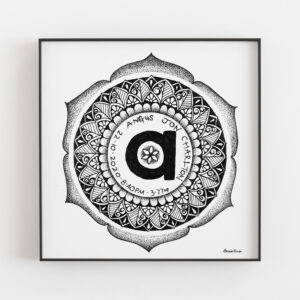 birth mandala with name, birth weight, date