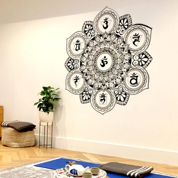 mandala drawn on a wall with the chakra symbols