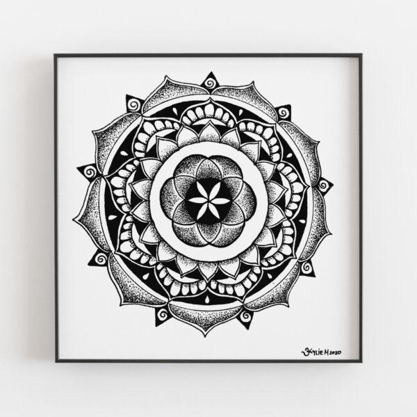 personalised mandala in frame