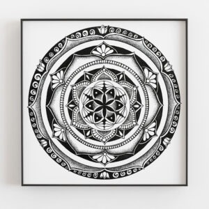 Vortex mandala in black frame