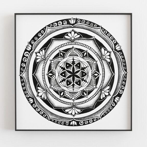 Vortex mandala in black frame