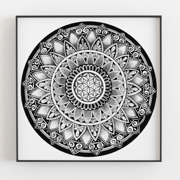 A framed mandala print inside a black frame