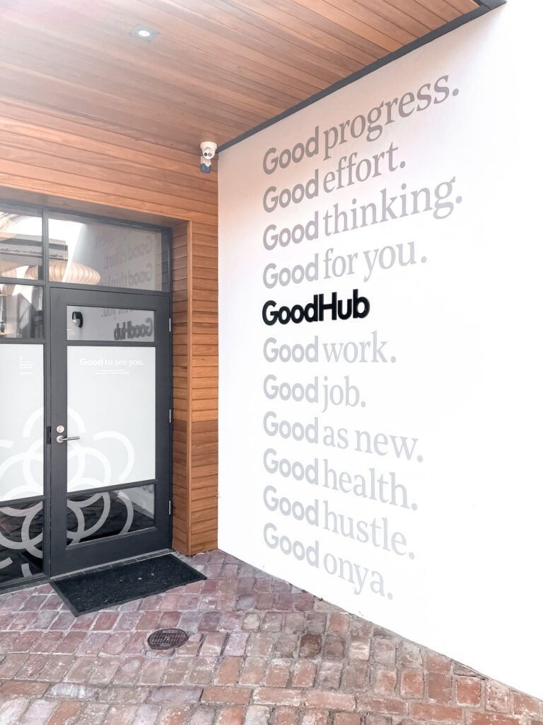 the outside of the good hub on goodwood road in adelaide showing the side of the building and the entrance